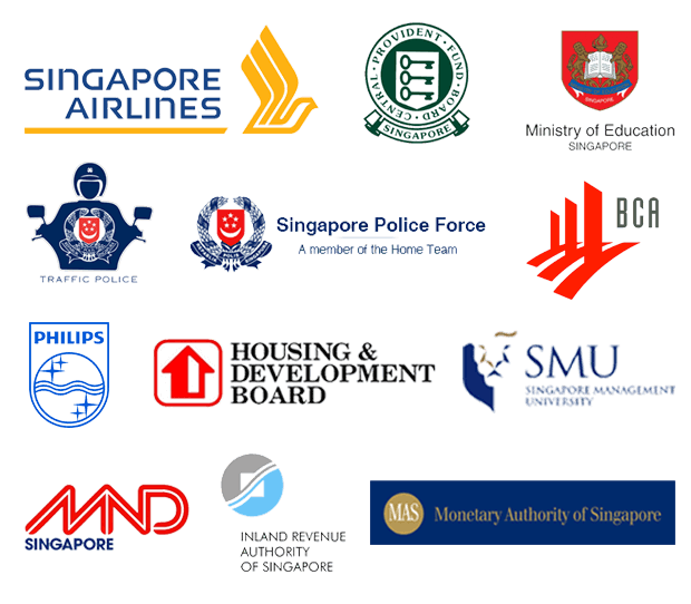 Healing Hands Corporate Outreach Clients - Singapore Airlines, CPF, MOE, Traffic Police, Singapore Police Force, BCA, Philips, HDB, SMU, MND, IRAS, MAS